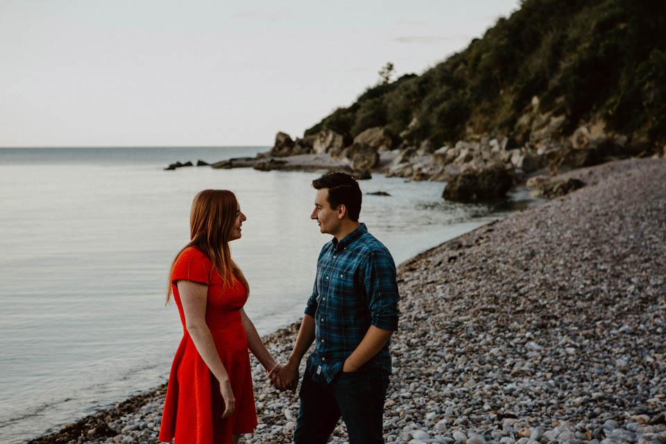 couple on Seaton beach engagement